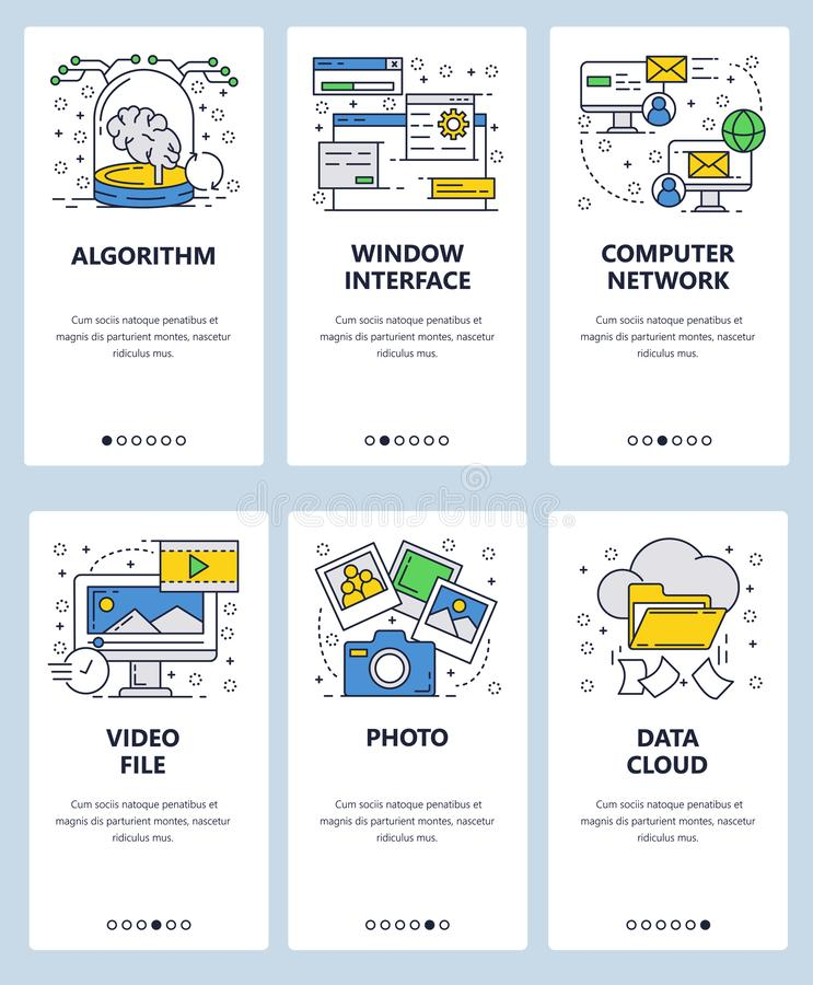 Vector web site linear art onboarding screens template. Computer services, data cloud storage and photo sharing. Menu vector illustration