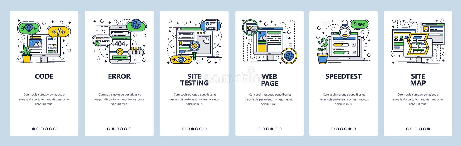 Vector web site linear art onboarding screens template. Web development, coding and testing, sitemap, speed test. Menu royalty free illustration