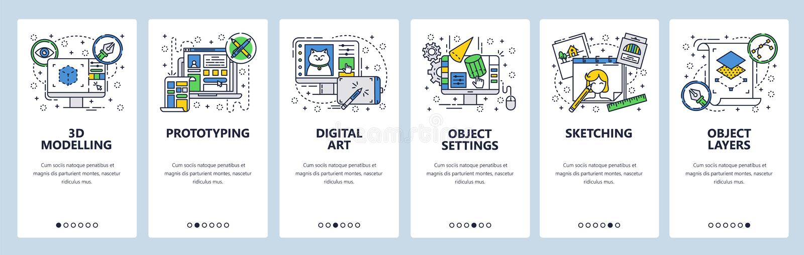 Vector web site linear art onboarding screens template. Digital art and design, 3d modelling, drawing, sketching. Menu. Banners for website and mobile app vector illustration
