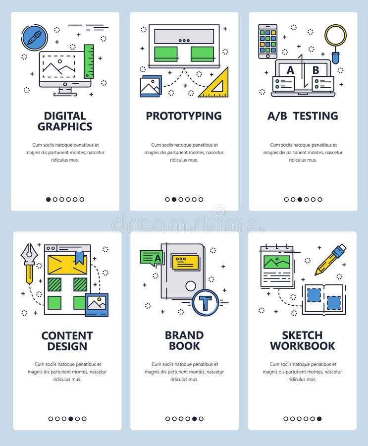 Vector web site linear art onboarding screens template. Digital graphic, design and branding. Menu banners for website. And mobile app development. Modern vector illustration