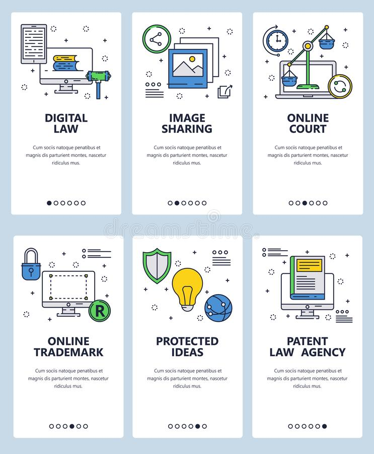 Vector web site linear art onboarding screens template. Digital law and copyrighted trademark. Menu banners for website. And mobile app development. Modern stock illustration