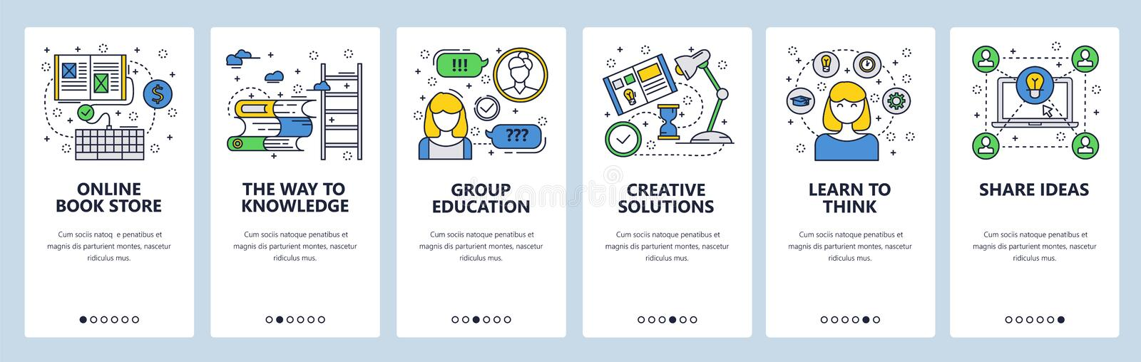 Vector web site linear art onboarding screens template. Education and knowledge, creative ideas and critical thinking. Menu banners for website and mobile app vector illustration