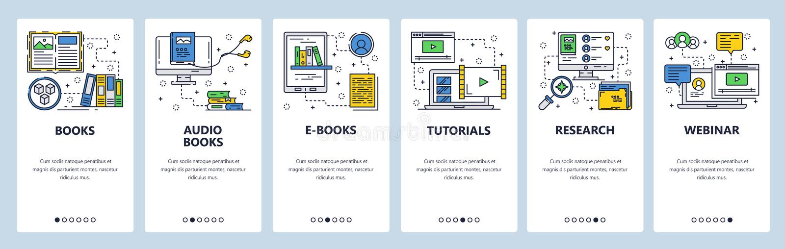 Vector web site linear art onboarding screens template. Electronic books, audio book and online tutorials. Menu banners royalty free illustration