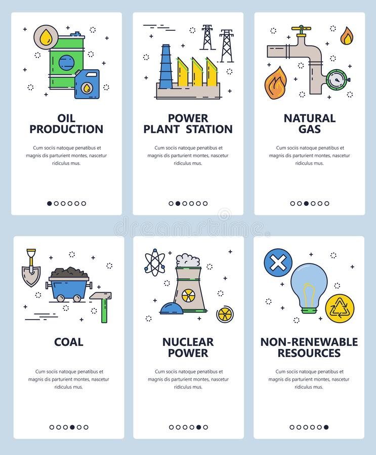 Vector web site linear art onboarding screens template. Energy sources and power plants. Nuclear, gas and coal power. Stations. Menu banners for website and vector illustration