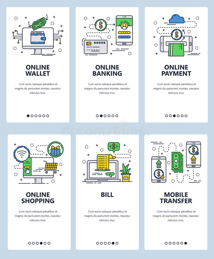 Vector web site linear art onboarding screens template. Finance and banking online services. Mobile payments and money vector illustration