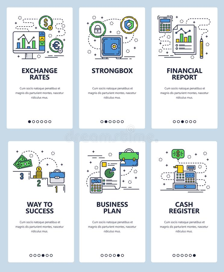 Vector web site linear art onboarding screens template. Finance, money and currency exchange rate. Business plan and vector illustration