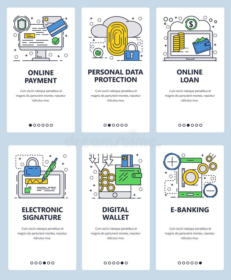Vector web site linear art onboarding screens template. Financial services amd data protection. Fingerprint scanner. Digital wallet, online loan and electronic vector illustration