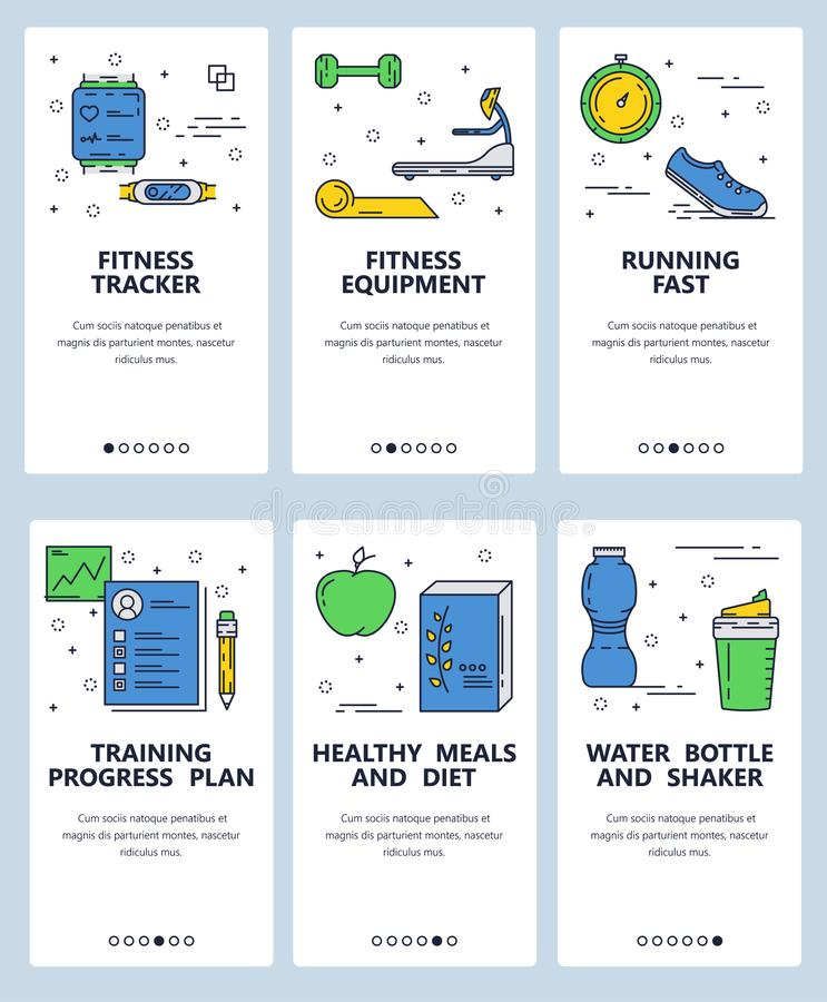 Vector web site linear art onboarding screens template. Fitness gadgets and sport equipment. Menu banners for website. And mobile app development. Modern design vector illustration