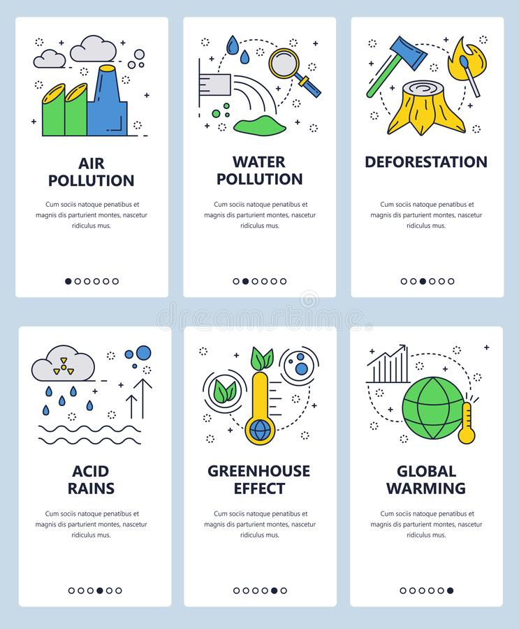 Vector web site linear art onboarding screens template. Global warming and industrial pollution. Ecology problems. Menu. Banners for website and mobile app royalty free illustration
