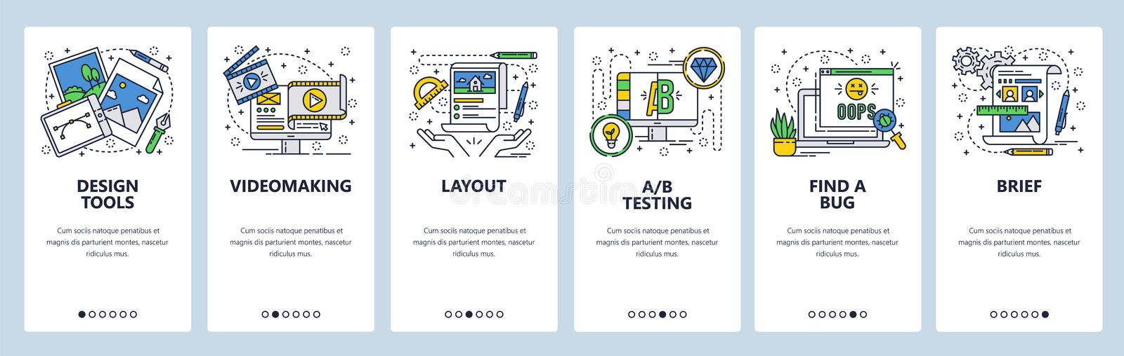 Vector web site linear art onboarding screens template. Graphic design and art, video production and testing. Menu. Banners for website and mobile app vector illustration