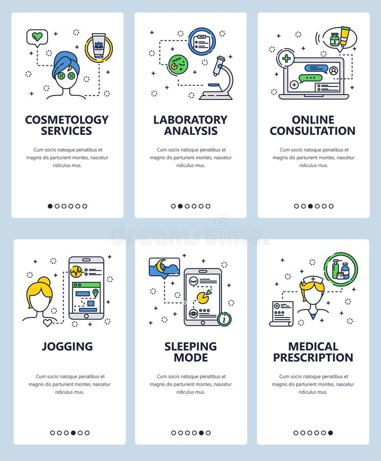 Vector web site linear art onboarding screens template. Healthcare and healthy lifestyle. Online doctor consultation. Menu banners for website and mobile app vector illustration