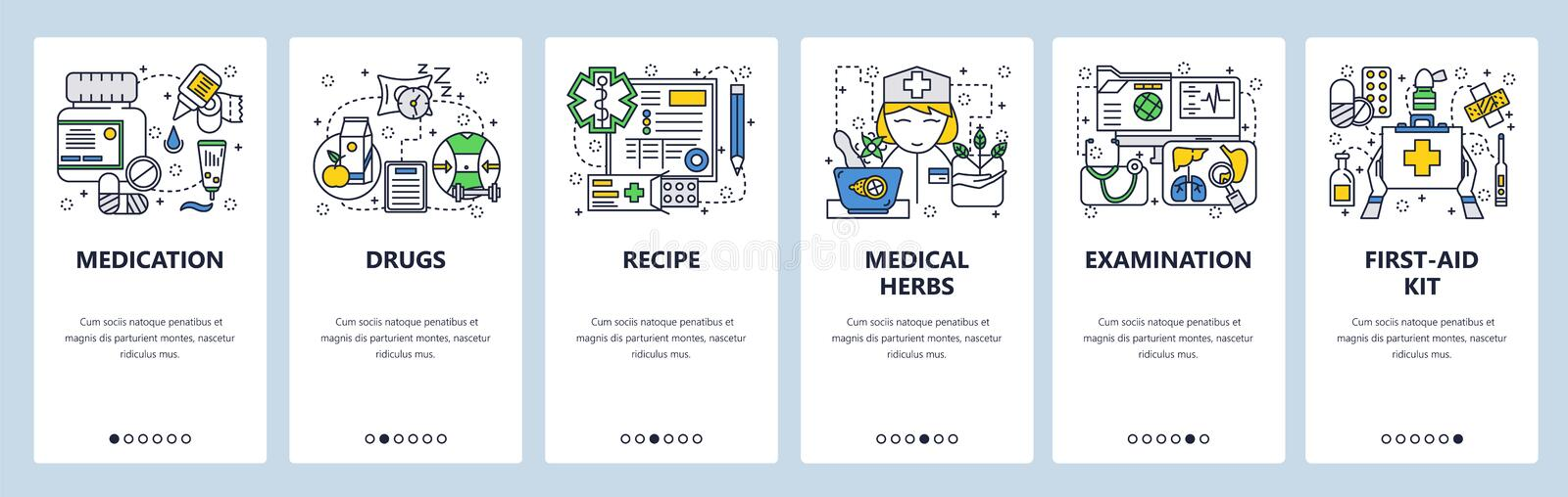 Vector web site linear art onboarding screens template. Healthcare and medicine icons. Drugs, first aid kit, nurse. Menu. Banners for website and mobile app stock illustration