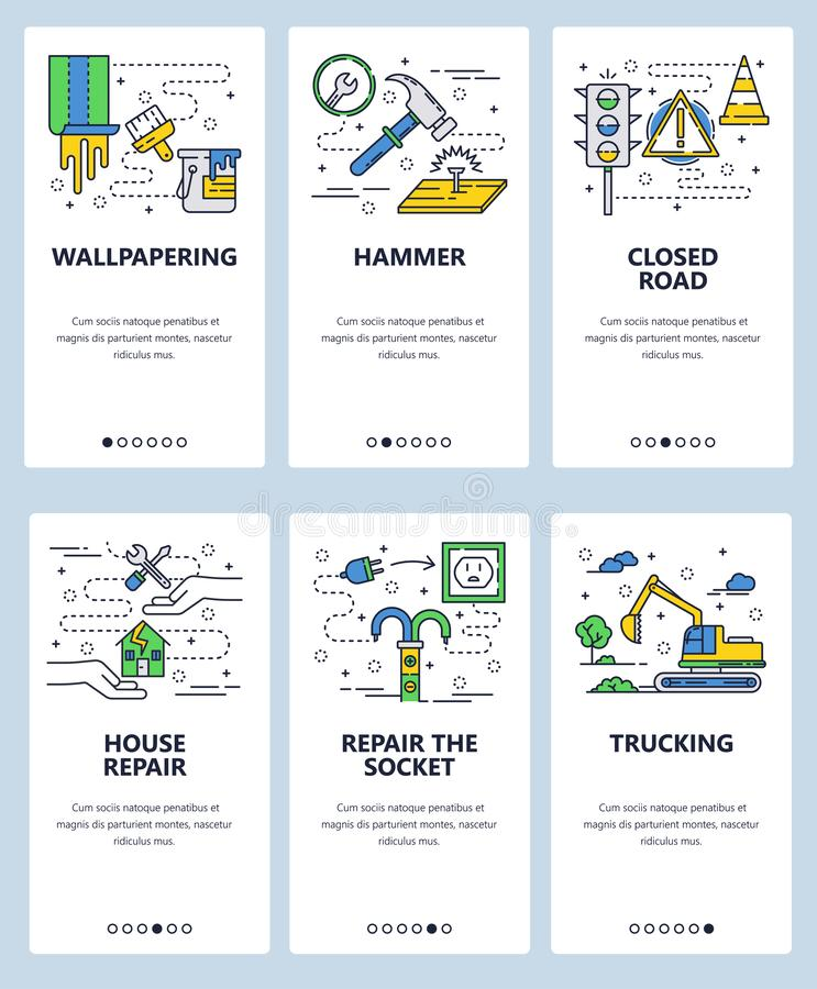 Vector web site linear art onboarding screens template. House repair icons. Excavator, traffic light, hammer. Menu. Banners for website and mobile app royalty free illustration