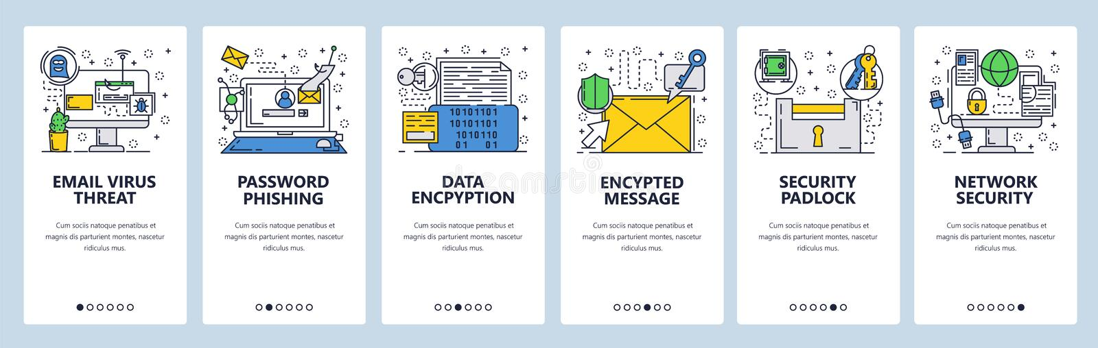Vector web site linear art onboarding screens template. Internet cyber security and email scam. Virus protection and royalty free illustration