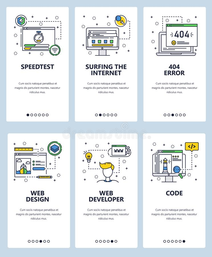 Vector web site linear art onboarding screens template. Internet web sites code and development. Menu banners for. Website and mobile app development. Modern royalty free illustration