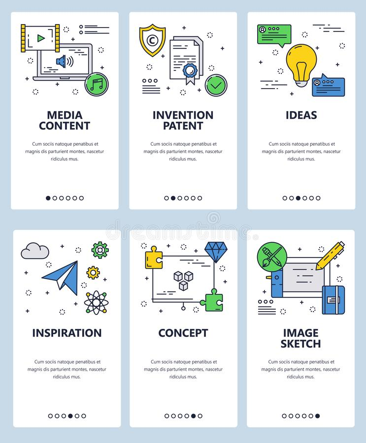 Vector web site linear art onboarding screens template. Media, inventions and inspiration ideas icons. Menu banners for. Website and mobile app development vector illustration