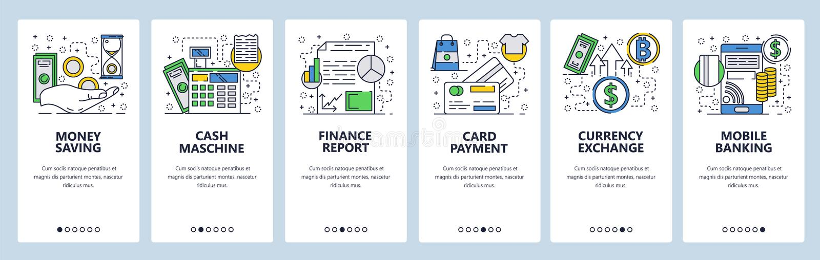 Vector web site linear art onboarding screens template. Mobile banking, credit card payment and curency exchange. Menu stock illustration