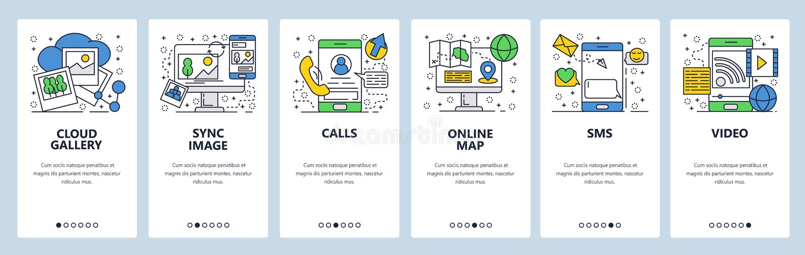 Vector web site linear art onboarding screens template. Mobile phone online services, cloud sync, calls, navigation map. And messages. Menu banners for website stock illustration