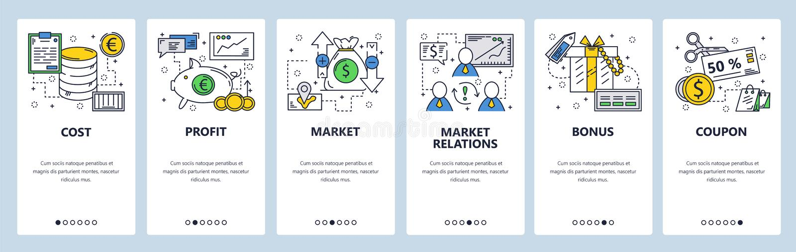 Vector web site linear art onboarding screens template. Money flow and company cost, profit and income. Menu banners for royalty free illustration