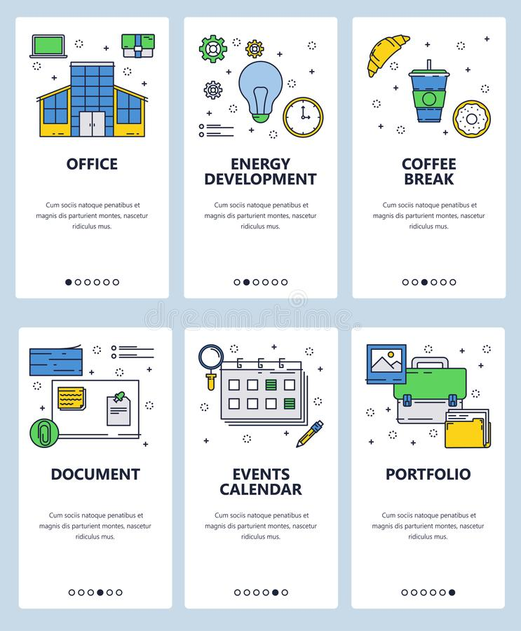 Vector web site linear art onboarding screens template. Office and business icons. Menu banners for website and mobile. App development. Modern design flat royalty free illustration