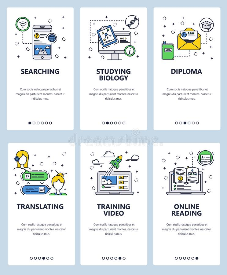 Vector web site linear art onboarding screens template. Online education and e-learning icons. Menu banners for website. And mobile app development. Modern vector illustration