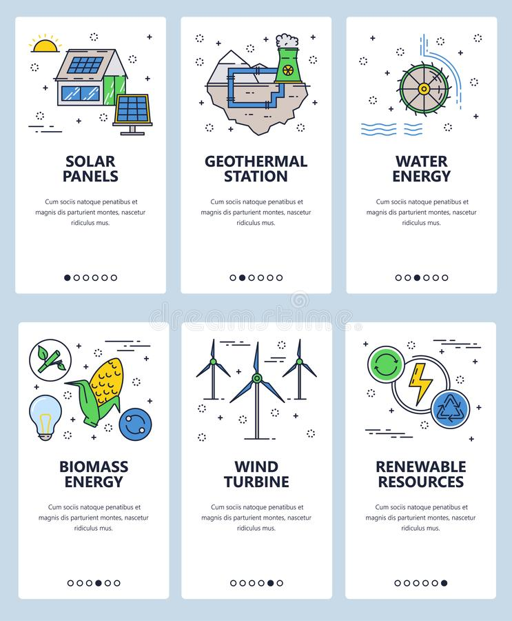 Vector web site linear art onboarding screens template. Renewable alternative energy sources and power plants. Menu. Vector web site linear art onboarding stock illustration