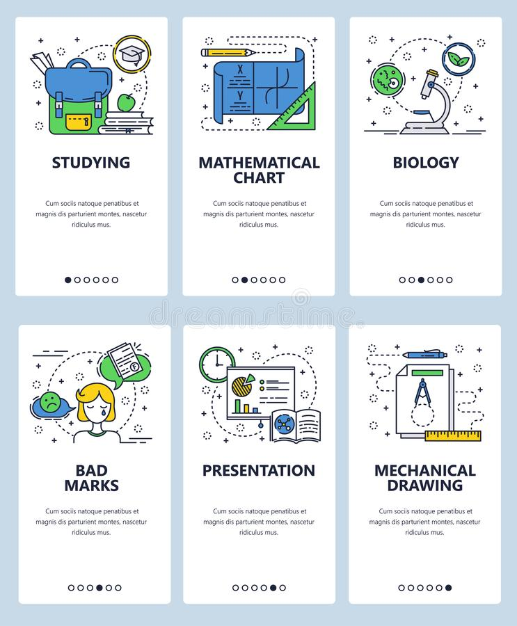 Vector web site linear art onboarding screens template. School education, presentation, math chart, school bag, drawing. And test results. Menu banners for stock illustration