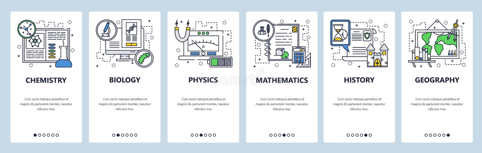 Vector web site linear art onboarding screens template. School education subjects, chemistry, math, physics, biology. History, geography. Menu banners for stock illustration