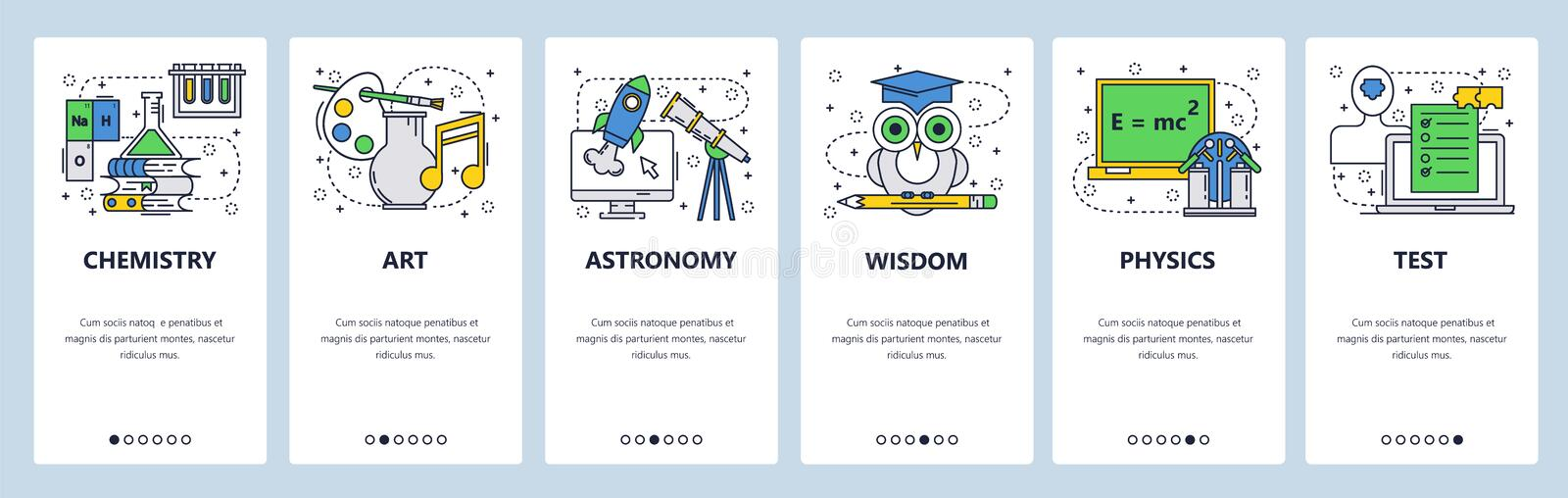Vector web site linear art onboarding screens template. School education subjects, chemistry, physics, art, test, exam. Wisdom. Menu banners for website and royalty free illustration