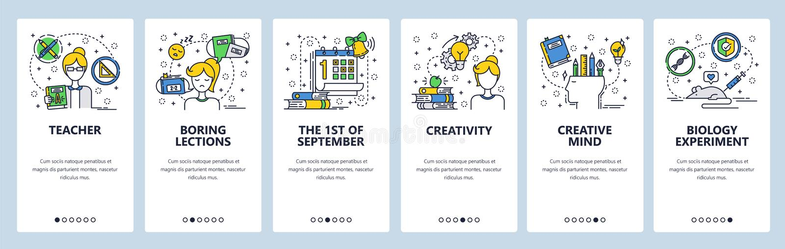 Vector web site linear art onboarding screens template. School education, teacher and boring classes, creative mind. Menu banners for website and mobile app stock illustration