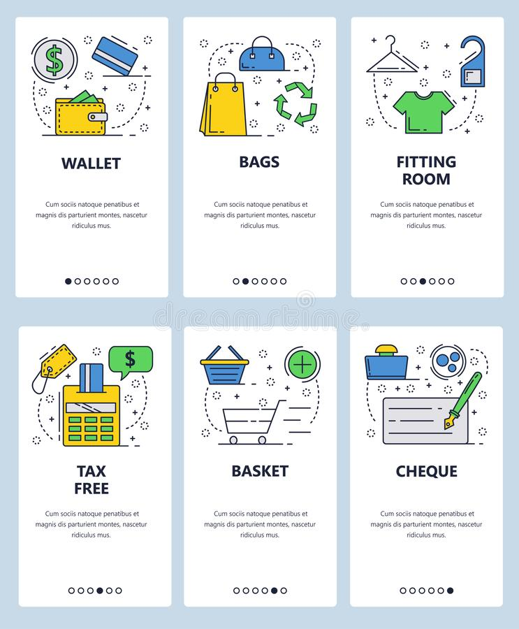 Vector web site linear art onboarding screens template. Shopping, money, fitting room, tax free. Menu banners for royalty free illustration