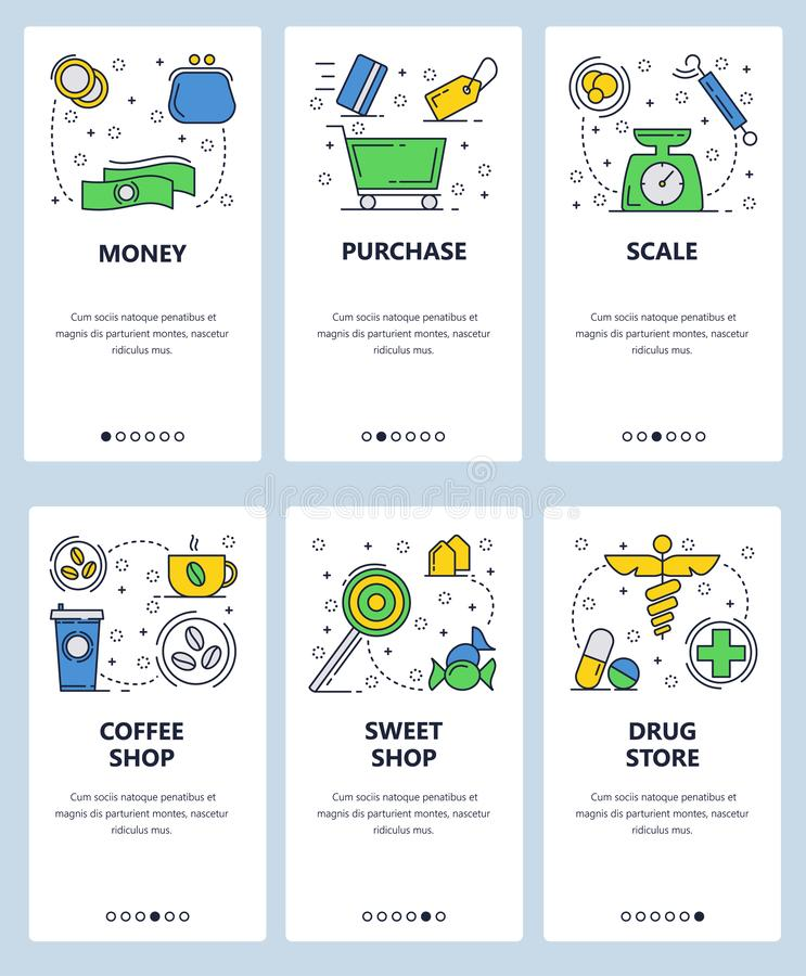 Vector web site linear art onboarding screens template. Shopping and money icons, drug store, candy and coffee. Menu stock illustration
