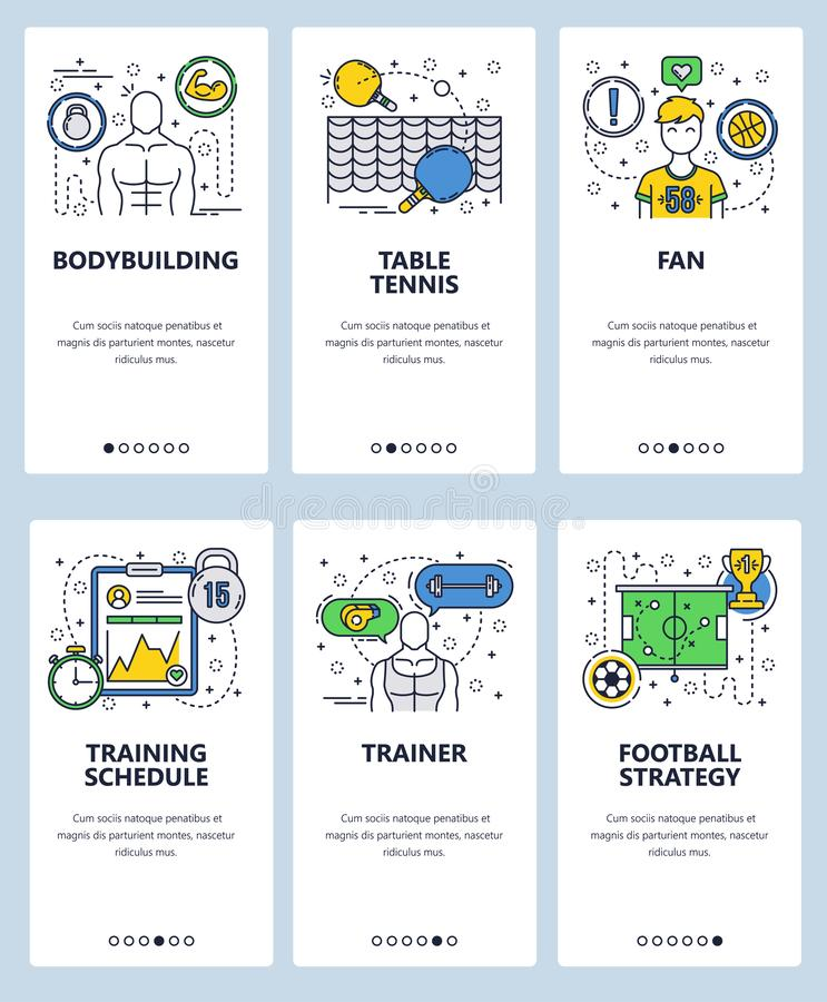 Vector web site linear art onboarding screens template. Sport and fitness. Bodybuilding and football trainer. Menu stock illustration