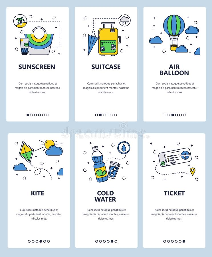 Vector web site linear art onboarding screens template. Travel icons, kite, air balloon and plane ticket. Menu banners. For website and mobile app development vector illustration