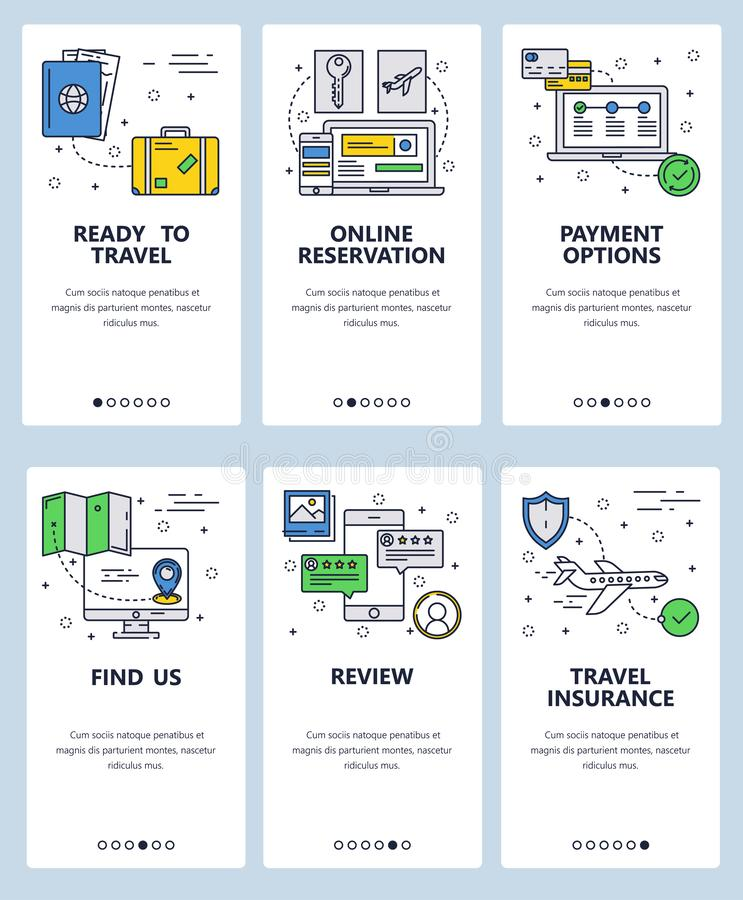 Vector web site linear art onboarding screens template. Travel and online booking concept icons. Menu banners for. Website and mobile app development. Modern stock illustration