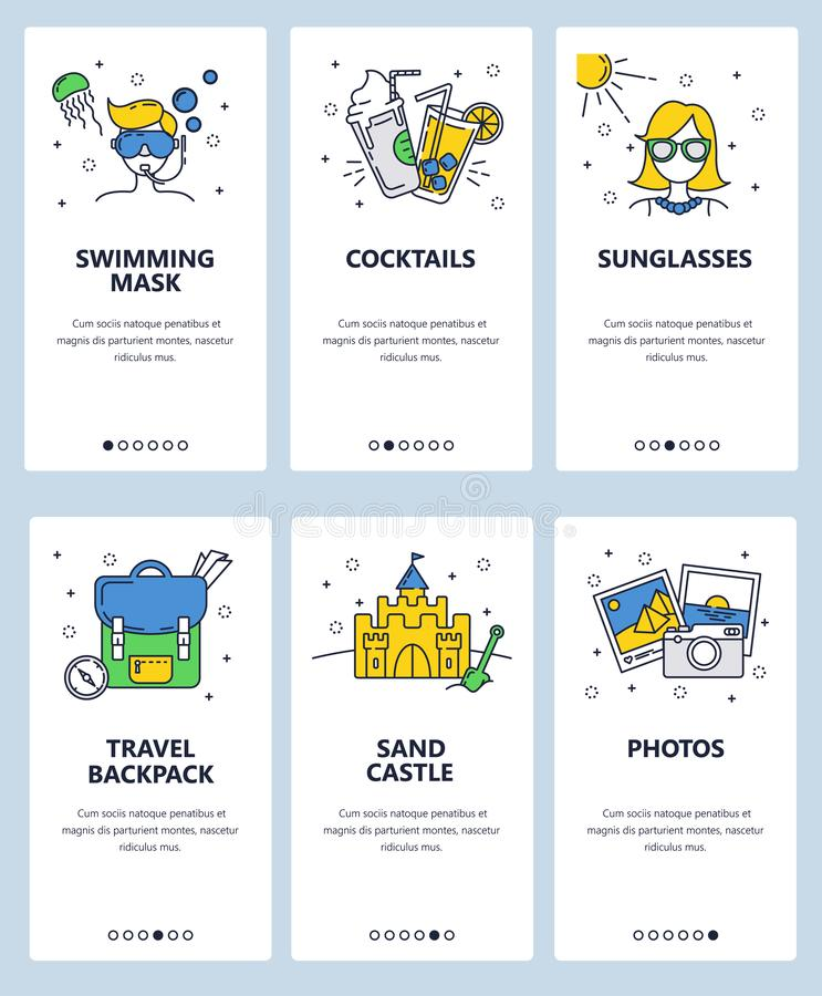 Vector web site linear art onboarding screens template. Travel and summer vacation icons. Menu banners for website and. Mobile app development. Modern design stock illustration