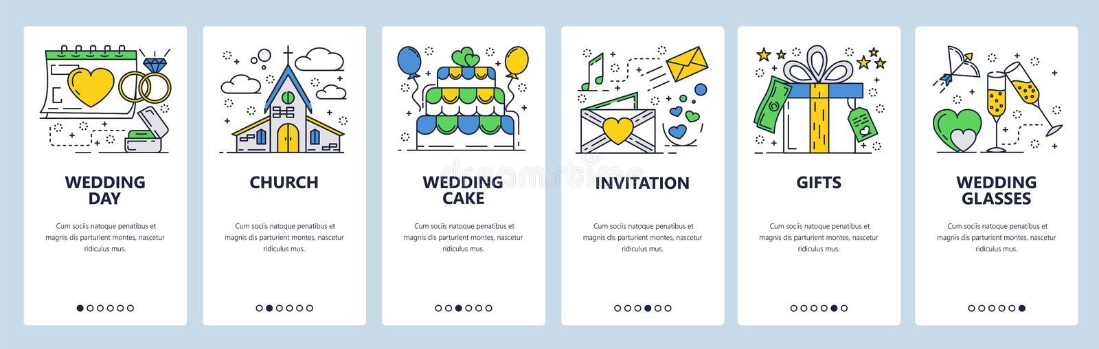 Vector web site linear art onboarding screens template. Wedding day ceremony, invitation cards, wedding cake, church. Menu banners for website and mobile app vector illustration