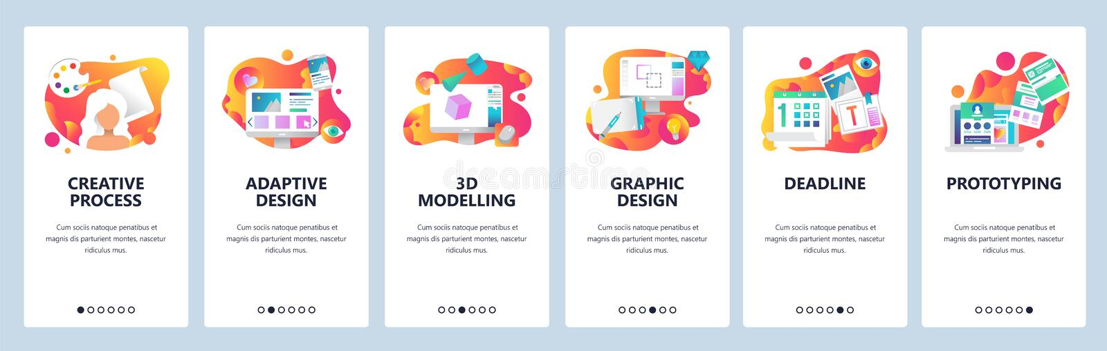 Vector web site onboarding screens gradient template. Graphic design, prototyping, creative artist and 3d modelling stock illustration