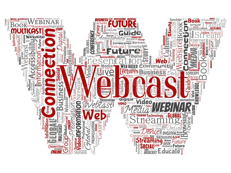 Vector webcast of webinar brievendoopvont vector illustratie
