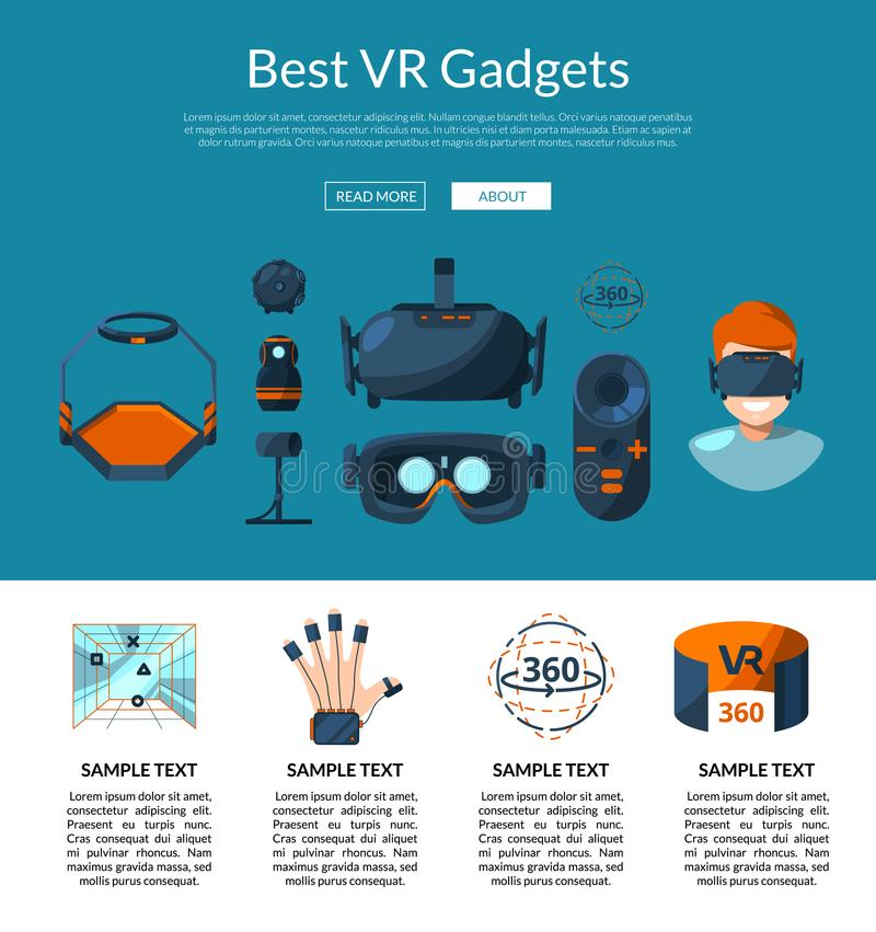 Vector website page template with flat style virtual reality elements stock illustration