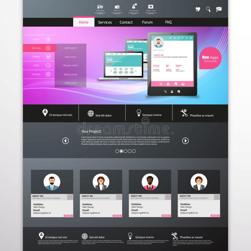 Vector website template with mobile gadgets displaying backend as a service. Modern Website Template, Trendy Design Vector eps 10 vector illustration