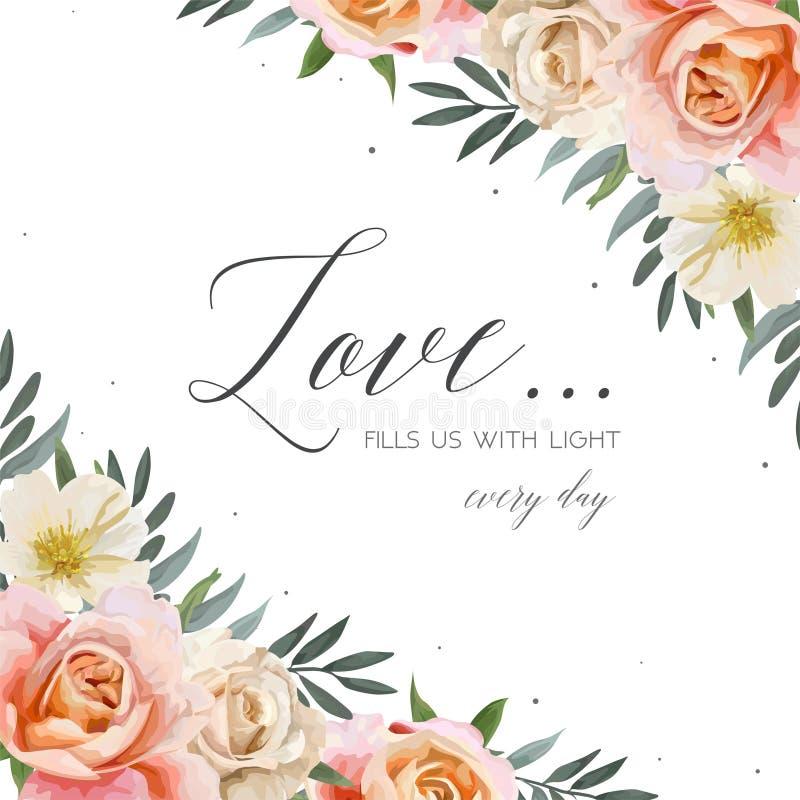 Vector wedding флористический пригласите, поздравительная открытка, острословие дизайна открытки иллюстрация вектора