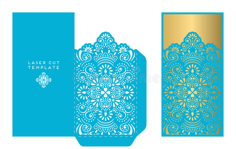 Vector wedding card laser cut template. Vintage decorative elements. Hand drawn background royalty free illustration