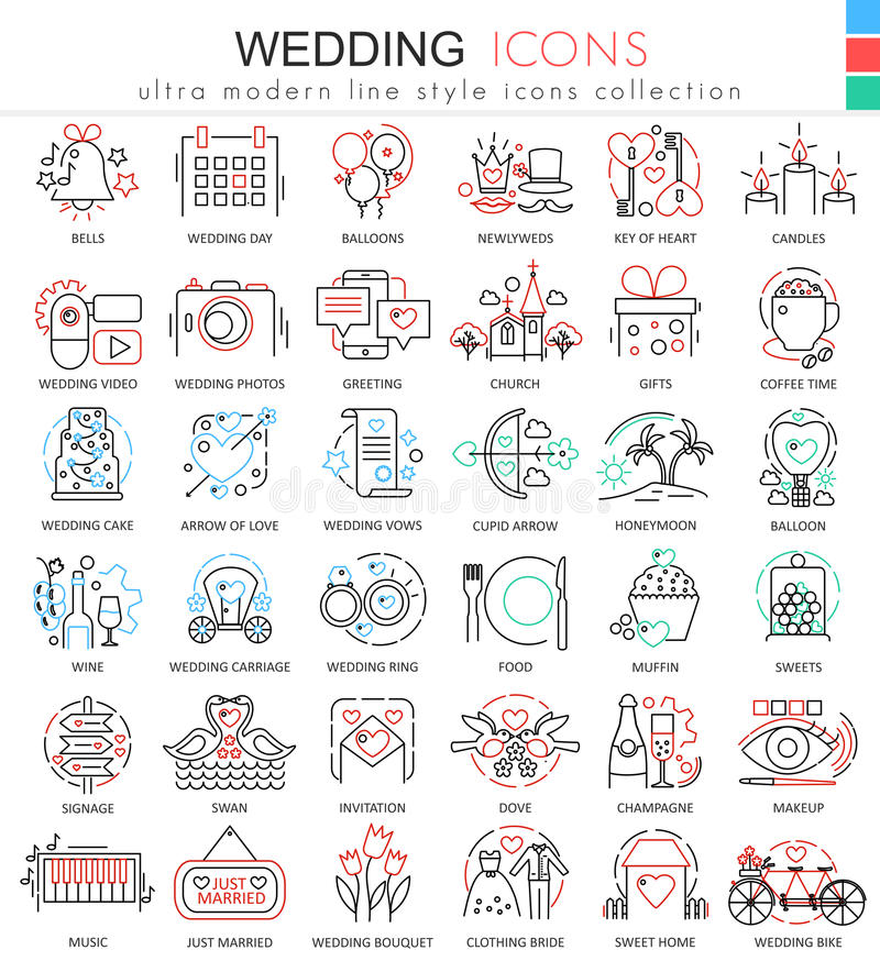 Vector Wedding color line outline icons for apps and web design. Wedding icons. vector illustration