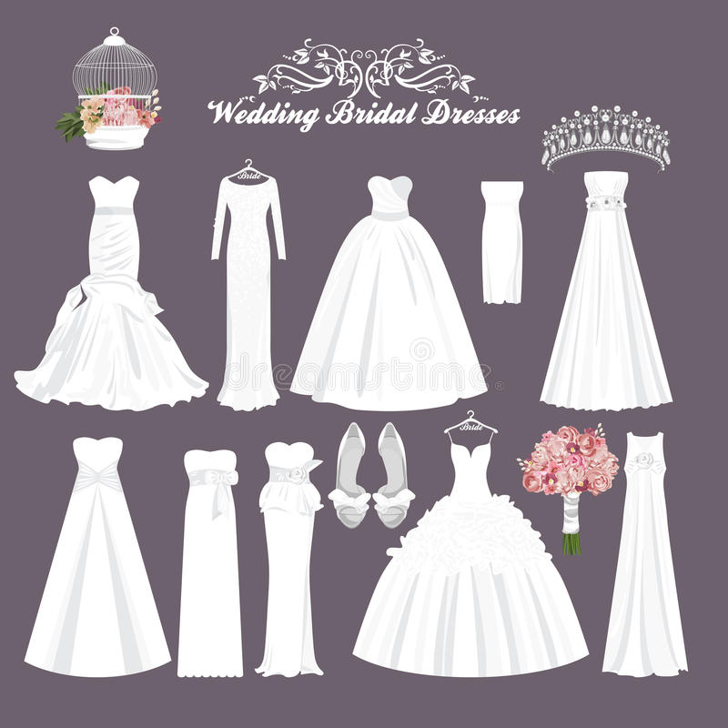 Vector wedding dresses in different styles. Fashion bride Dress royalty free illustration