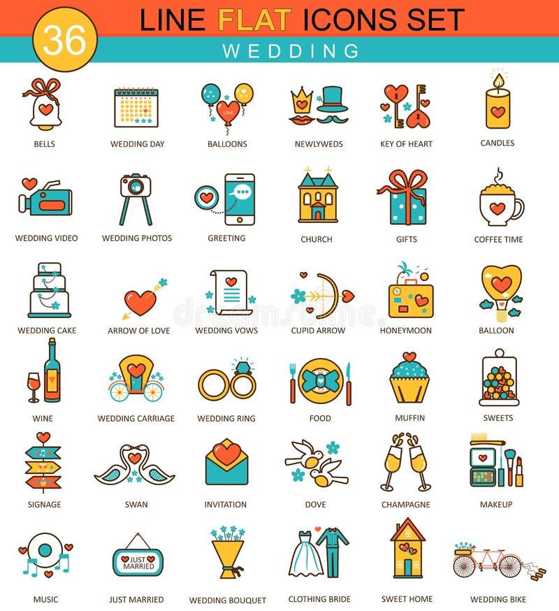 Vector Wedding flat line icon set. Modern elegant style design for web. royalty free illustration