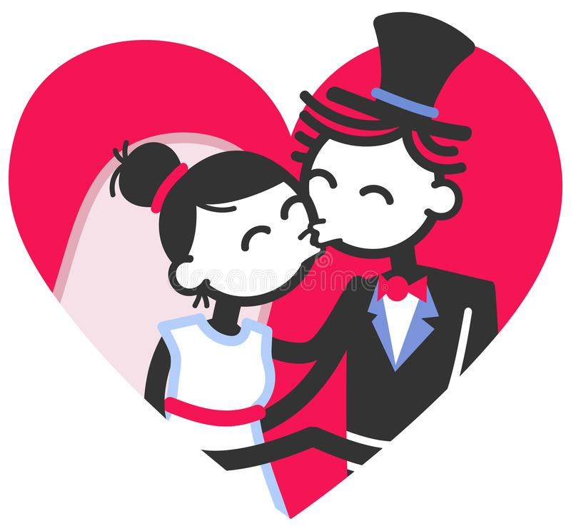 Vector wedding illustration of cute stick figures bridal couple kissing inside red heart, wedding invitation template. Vector wedding illustration of cute stick stock illustration