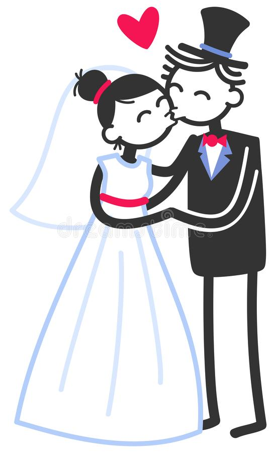 Vector wedding illustration of cute stick figures bridal couple standing and kissing, wedding invitation template. Vector wedding illustration of cute stick stock illustration