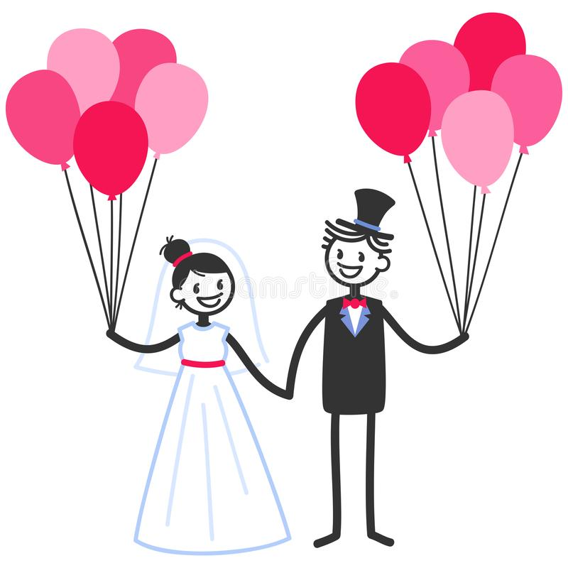 Vector Wedding Illustration Of Happy Stick Figures Bridal