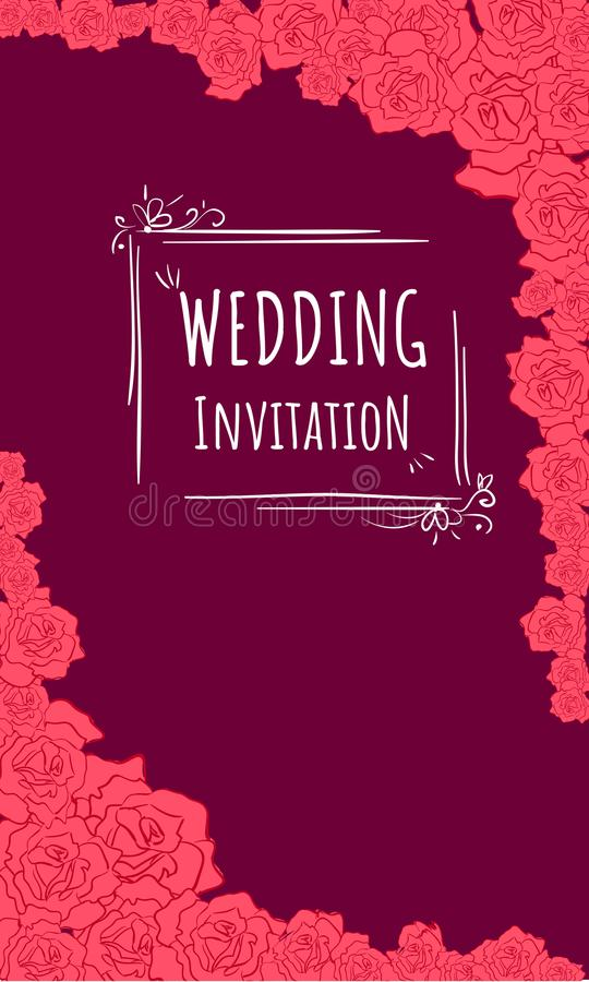 Wedding invitaion in burgundy background and red roses. Vector Wedding invitaion in burgundy background and red roses stock illustration